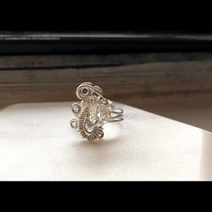 Handmade wire wrapped beaded ring Unique wrapping
